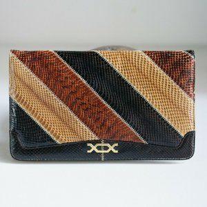 Vintage Multicolour Brown Patchwork Large Clutch